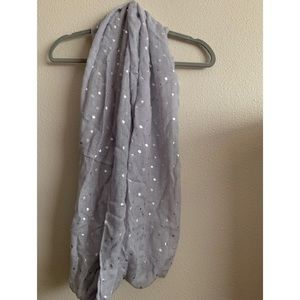 Aerie Gray and Metallic Silver Infinity Scarf